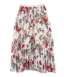 Floral print pleated SK