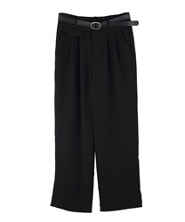 Straight pants with a belt(Black-Free)