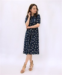 Flower Print Collared OP(Navy-Free)