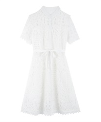 Full Length Lace Scalloped Dress(White-Free)