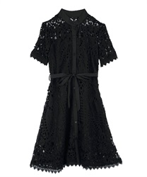 Full Length Lace Scalloped Dress(Black-Free)