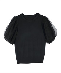Sleeve tulle layered PO(Black-Free)