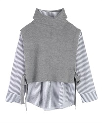 Striped Shirt and Knit Vest Ensemble(Grey-Free)