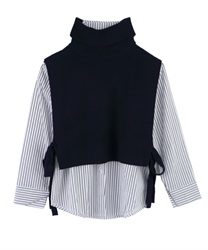 Striped Shirt and Knit Vest Ensemble(Navy-Free)