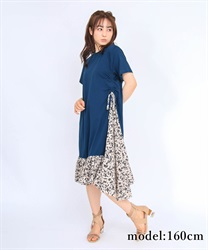 Side Ribbon Different Material Dress