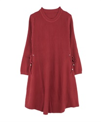 【MAX70%OFF】A-Line Knit Dress with Side Ribbons(DarkPink-Free)