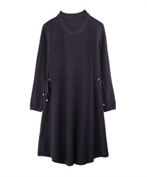 【MAX70%OFF】A-Line Knit Dress with Side Ribbons(Purple-Free)