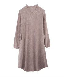 【MAX70%OFF】A-Line Knit Dress with Side Ribbons(Beige-Free)