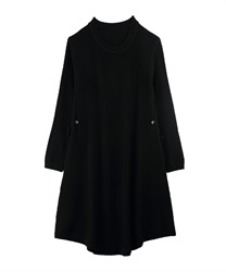 A-Line Knit Dress with Side Ribbons(Black-Free)