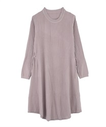 【MAX70%OFF】A-Line Knit Dress with Side Ribbons(Lavender-Free)