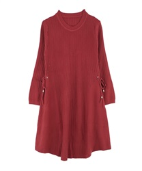 A-Line Knit Dress with Side Ribbons