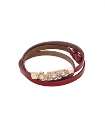 Cowhide Adjustable Thin Belt wit Flower Design Pearl Decoration Buckle(Red-M)
