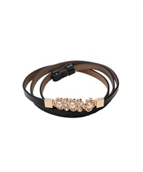 Cowhide Adjustable Thin Belt wit Flower Design Pearl Decoration Buckle(Black-M)