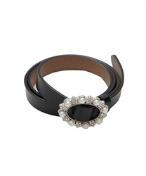 Cowhide Adjustable Thin Belt wit Pearl Decoration Buckle(Black-M)