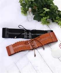 Lace-like lace-up elastic belt