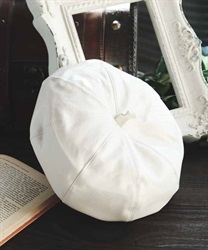 Leather beret(White-M)