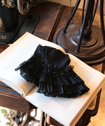 Lacy pleated cuffs(Black-M)