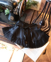 Detachable collar with ribbon tie(Black-M)