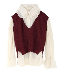Blouse with vest(Wine-Free)