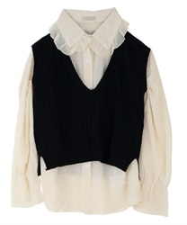 Blouse with vest(Black-Free)