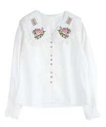 Flower embroidery blouse(White-Free)