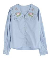 Flower embroidery blouse(Blue-Free)