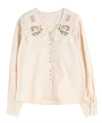 Flower embroidery blouse(Beige-Free)