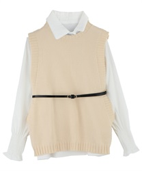 Shirt Blouse and Knit Vest Ensemble with Thin Belt(Beige-Free)