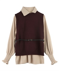 Shirt Blouse and Knit Vest Ensemble with Thin Belt(Brown-Free)