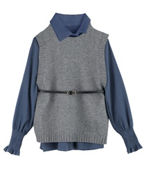 Shirt Blouse and Knit Vest Ensemble with Thin Belt(Grey-Free)