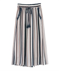 Striped gaucho pants(Ecru-Free)