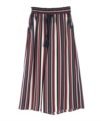 Striped gaucho pants(Navy-Free)