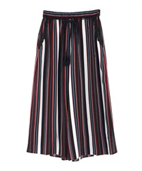 Striped gaucho pants(Black-Free)