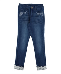 Stretchy Denim Leggings with Flower Embroidery(Wash-S)