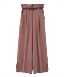 "【MAX70%OFF】Wide Pants with ""Removable Belt""(Pale pink-Free)"