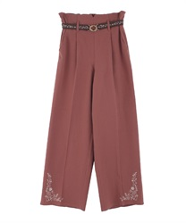 Hem embroidered linen pants(Orange-Free)