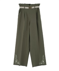 Hem embroidered linen pants(Khaki-Free)