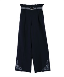 Hem embroidered linen pants(Navy-Free)