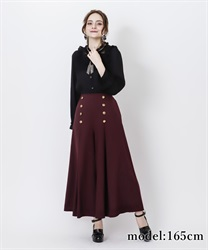 Multiple buttons flared pant(Wine-Free)