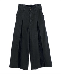 Lace crossover demin wide pant(Black-Free)