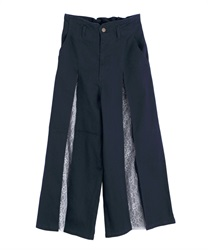 Lace crossover demin wide pant(Indigo-Free)