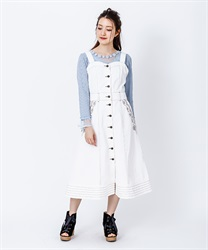 Bustier-style jumper skirt with front button(White-Free)