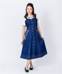 Bustier-style jumper skirt with front button(Indigo-Free)