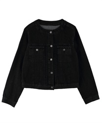 Braid no collar denim jacket(Black-M)