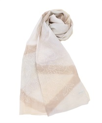 Cotton Embroidery × dyed mini shawl(Beige-M)