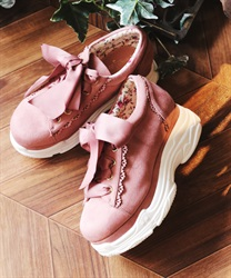 Ribbon sneakers(Pale pink-S)