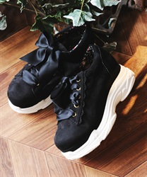 Ribbon sneakers(Black-S)