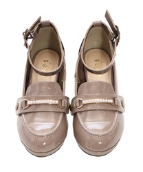"Loafer Pumps with ""2 Detachable Decoration""(Beige-S)"