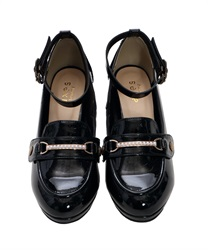 "Loafer Pumps with ""2 Detachable Decoration""(Black-S)"