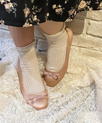 【2Buy20%OFF】Ribbon Ballet Flats(Pale pink-S)